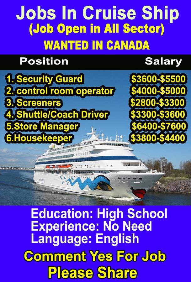 Job Vacancies In The Cruise Ship Industry: Cruise Ship Job In USA For Verious Country Anyone Can Apply