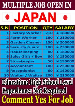 Urgent Vacancy Open In Japan