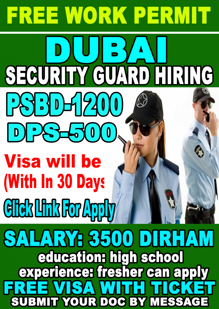 Security Guard Jobs In Dubai for verious country anyone can