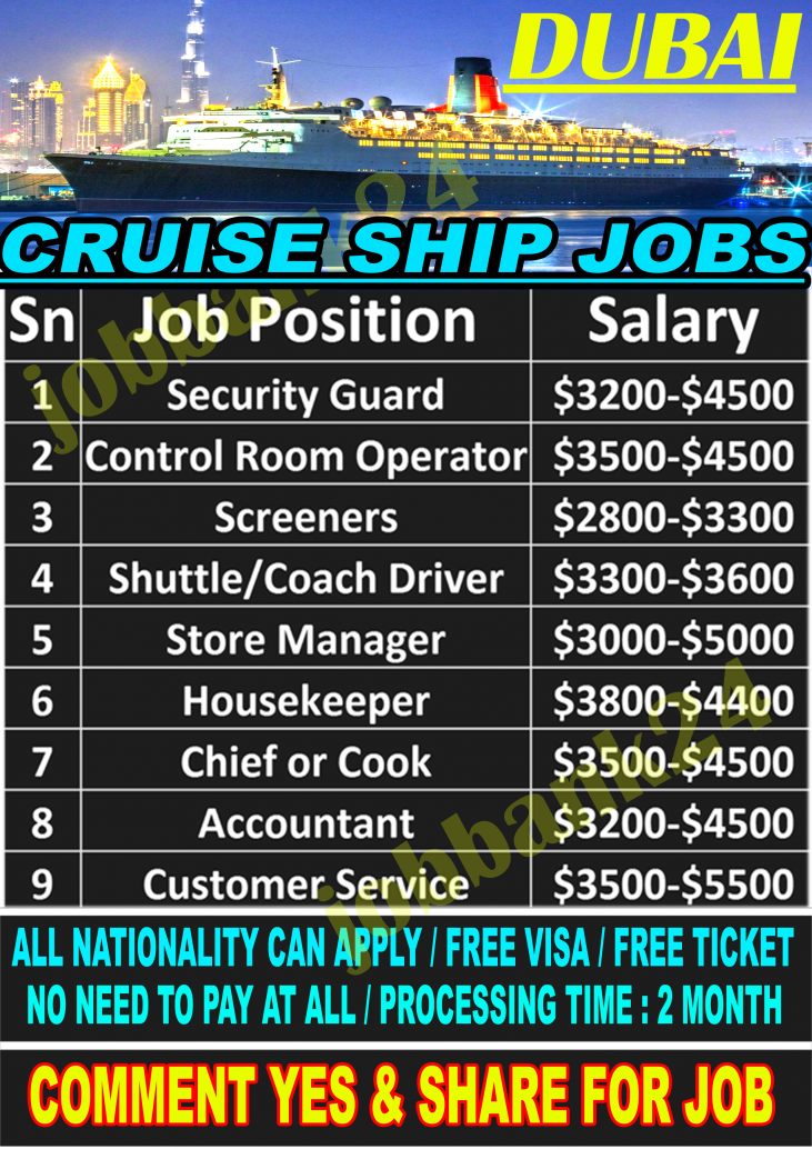 Cruise Ship Jobs In Dubai For Verious Country Anyone Can Apply