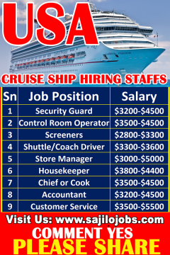 Cruise Ship Staff Hiring In USA