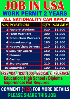 Urgent Jobs In USA Apply Now