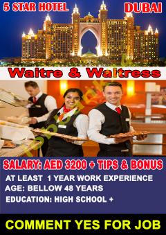 Waiter & Waitress Jobs In Dubai