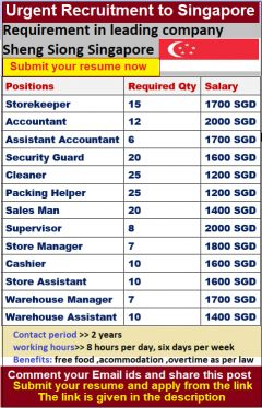 Urgent Jobs Openings In Singapore